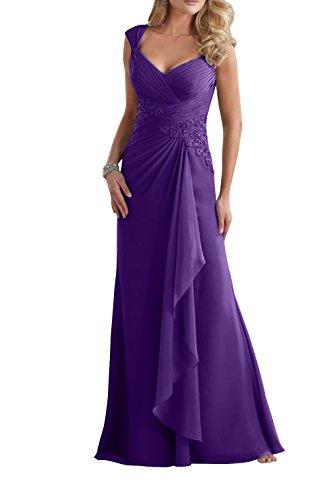 Damen Lila Brau Etuikleider V mit Ausschnitt Abendkleider Spitze mia Brautmutterkleider Langes La Promkleider qWtHc1fH7S