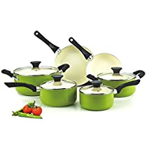New Cook N Home Green Nonstick Ceramic 10-piece Cookware Set