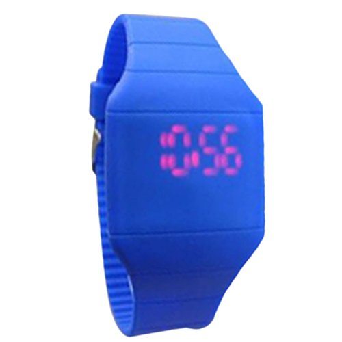 Price comparison product image Siviki Unisex Multicolor Digital Rubber Jelly Slim Sports Led Smart Band Watch for Boys Girls Kids (Blue)