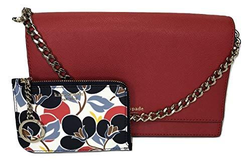Kate Spade New York Cameron Convertible Crossbody WKRU5843 bundled with matching Cameron Medium Card Wallet (Hot Chili/Breezy Floral) (Kate Spade Adjustable Ring)