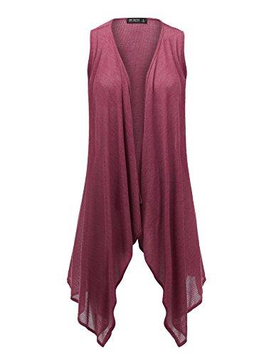 Sleeveless Lightweight (Come Together California WSK1527 Womens Lightweight Sleeveless Open Cardigan Vest - Made in USA S Wine)