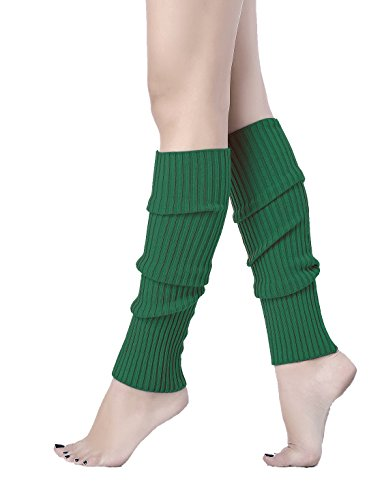 V28Women Winter 80s Eighty's Warm Leg Warmers Knitted Long Socks (one size, Deep Green) Warm Green