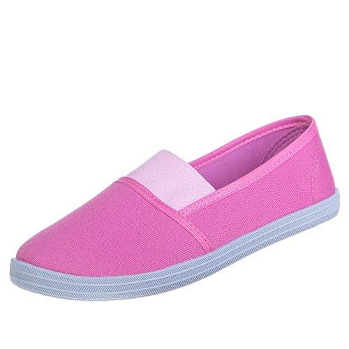 Ital-Design Damen Schuhe, D586, Halbschuhe Rosa