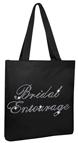 Black Brides Entourage Luxury Rhinestone Crystal Bride Tote bag Bridal Shower wedding party gift - Entourage Glasses