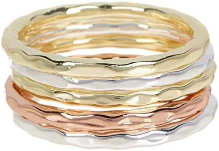 5 PCS Tri-Tone 18k Gold and 18k Rose Gold And Silver Clad Wholesale Jewelry Ring $15.79 Per Set Sold In 2 Set Per Size Pack