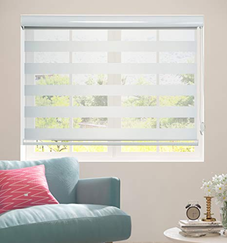 Shadesu Double Layered Fabric Zebra Sheer Shade Horizontal Window Blinds & Treatments (Maximum Height 72inch) (39inch)