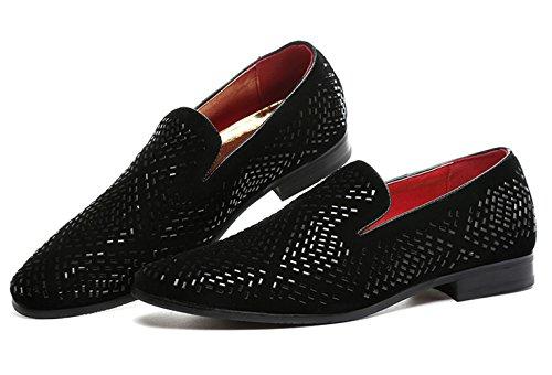 Black Slip Slipper Shoes Black Men Rhinestone Pointed Moccasins Handmade on Loafer Santimon qI5zwxvxp