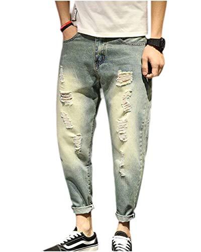 Vestibilità Hellblau Strappati Denim Casual Etero Saoye Usedlook Regolare Retro Uomo Fashion Jeans Distressed Pantaloni Harem Da Giovane 1wTFwvxq