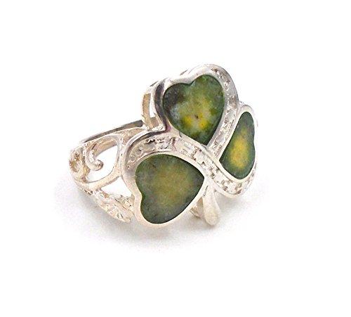 Irish Connemara Marble Shamrock Ring- Size 7...
