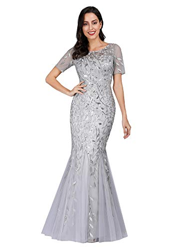Women's Short Sleeve Illusion Embroidery Lace Evening Mermaid Dress Silver US20