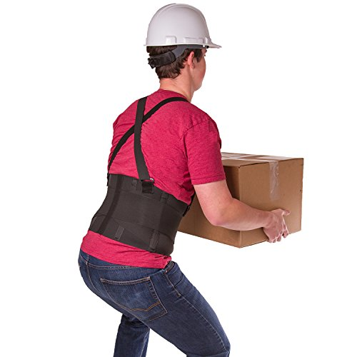 BraceAbility Industrial Work Back Brace | Removable Suspender Straps for Heavy Lifting Safety - Lower Back Pain Protection Belt for Men & Women in Construction, Moving and Warehouse Jobs (Medium) (Mens Back Belt)
