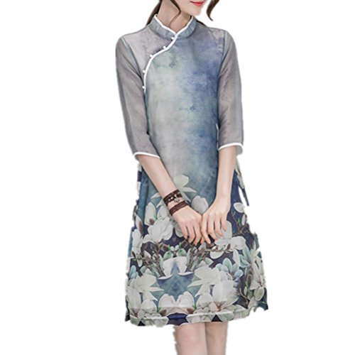Sleeve Dress Collar Blue Print Bobbycool Cheongsam Slim Retro Five Women atqgCRw