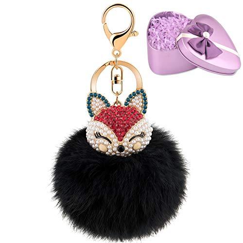 JOUDOO Fluffy Fur Ball Keychain With Gift Box Fox Head Pom Pom Keyring with rhinestone for bag or Car Pendadnt Charm Accessories GJ020 (black ()