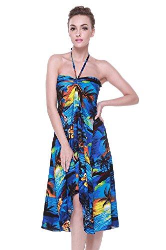 (Hawaii Hangover Women's Hawaiian Butterfly Luau Dress in Sunset Blue)