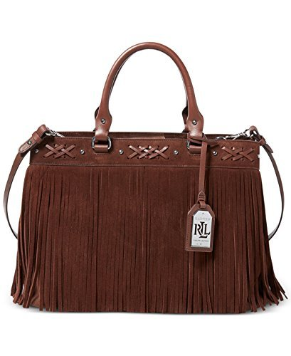 Lauren Ralph Lauren Womens Barton Leather Satchel Tote Handbag Brown Medium