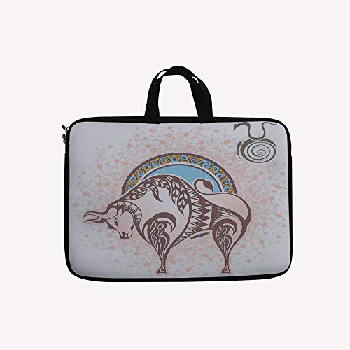 """3D Printed Double Zipper Laptop Bag,Icon Taurus with a Bull Figure on Grungy Prediction,10 inch Canvas Waterproof Laptop Shoulder Bag Compatible with 9.7""""10.1"""" 10.6""""inch Laptop."""