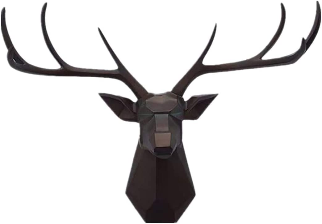 YJ Home Deer Head Wall Decor - 27.5 inch Faux Taxidermy Animal Mount, Geometry Stag Head Wall Decor,8 Point Buck Deer Head Bust Wall Hanging (XXL, Black Deer D) …