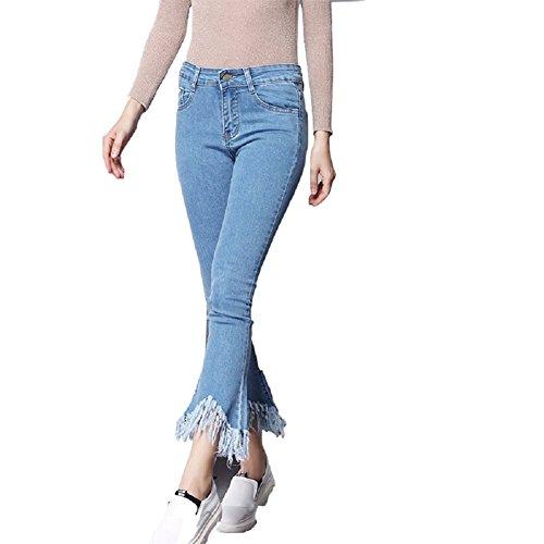 Fuweiencore Donna Elefante Blu Classici Svasati Skinny Frange Pantaloni Zampa Jeans Scuro A xX76r7n