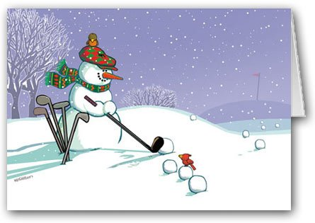 Amazoncom Golfing Snowman Holiday Card Golf Cards And - Golf christmas cards