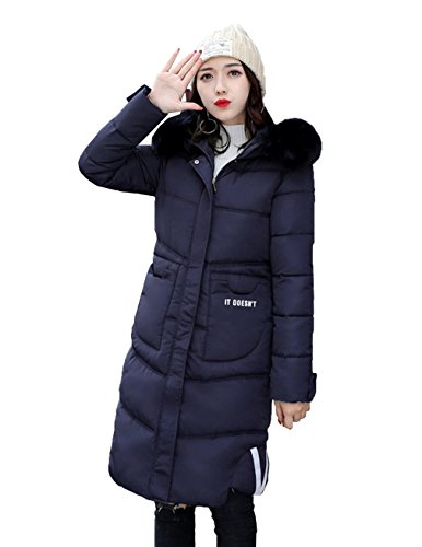 Overcoat Winter Bigood Womens Down Jacket Long Coat Hooded Cotton Navy blue Warm Af7wqaz