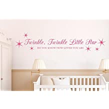 Twinkle Twinkle Little Star Love Wall Stickers Art Decals - Large (Height 108cm x Width 23cm) White