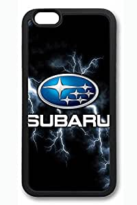 iPhone 6 Case - Perfect Fit Soft Rubber Black Back Cover with Subaru Car Logo 3 Pattern for iPhone 6 Scratch-Resistant Protective Soft Case for iPhone 6 4.7 Inches