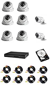 Hikvision CCTV Set with 8 Channel  DVR K1 Hard disk 1T 6 indoor vari-focal cameras and 2 outdoor vari-focal camera  and 8x40 meter cables 1280x1080 P