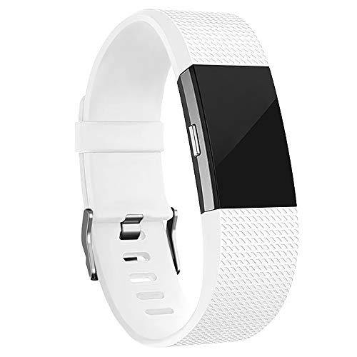 iGK Replacement Bands Compatible For Fitbit Charge 2, Adjustable Replacement Bands with Metal Clasp Classic Edition White Small
