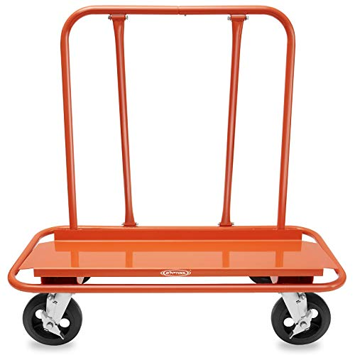GypTool Heavy Duty Drywall Sheet Cart & Panel Dolly with 4 Swivel Wheels - Orange