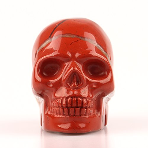 (2.0inch Natural Carved Skull Crystal Reiki Healing Stone Statue Collectible Figurine (Red jasper))