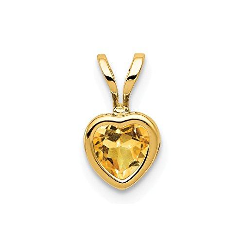 - 14k Yellow Gold 5mm Heart Citrine Bezel Pendant Charm Necklace Gemstone Love Ful Fine Jewelry For Women Gift Set