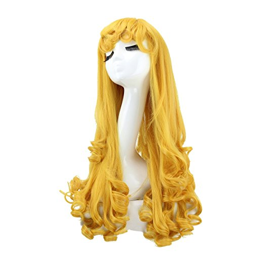 [Z-Cosplay Sleeping Beauty Princess Aurora Long Wavy Golden Anime Cosplay Wigs] (Easy Movie Inspired Costumes)