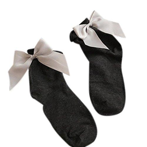 Calze Da Donna, Calze Alla Caviglia In Cotone Morbido Color Inkach Chic Con Bowknot E