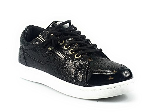 Forever Link Women's REMY-18 Glitter Fashion Sneakers Black**