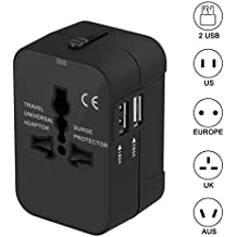 Travel Adapter, Xcords Worldwide All in One Universal Travel Plug Adapter AC Power Plug Converter High Speed Wall Charger with 2 USB Charging Ports Sync for USA EU UK AUS (Black)