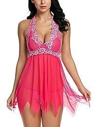 Avidlove Women Sexy Lingerie Lace Chemise Babydoll Halter Nightwear Set