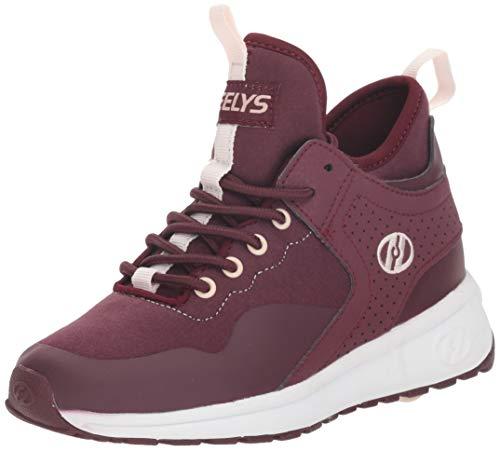 Heelys Girls' Piper Tennis Shoe, Burgundy/White, 4 M US Big -