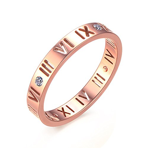 YIKOXI 3MM Rose Gold Silver Stainless Steel Wedding Roman Numerals Ring for Lady Women (Rose Gold, ()