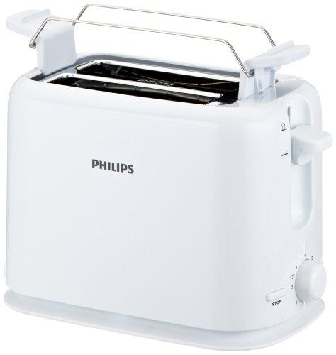 Philips HD2567/00 Toaster (950 Watt, 7 Stufen, Brötchenaufsatz) weiß