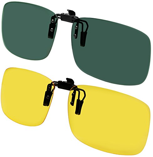 Clip on Sunglasses Polarized Flip Up Clip onto prescription eyeglasses Set of 2 for Men and Women Set of G15 + Night Lens