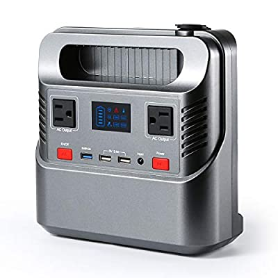 FLOVEME Portable Power Station Generator with Flashlight 266Wh 300W Solar Generator Rechargeable Emergency Backup Battery Pack 110 AC/DC Outlet QC 3.0 USB Port 12V Car for Home Camping Travel CPAP