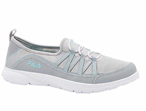 Fila Womens Pilota Memory Foam Breathable Slip On Shoe Sneaker (8, Grey)