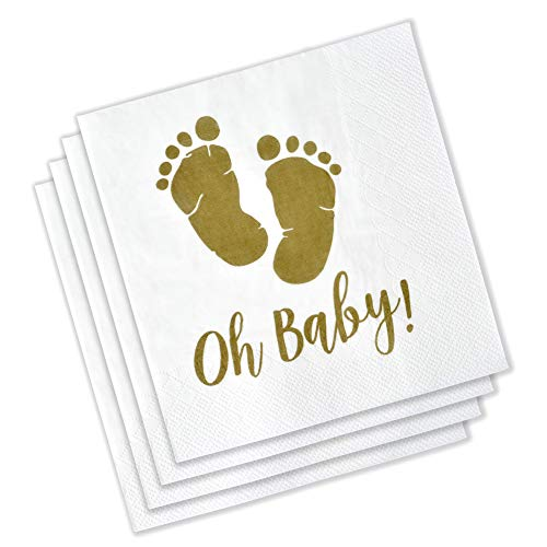 Oh Baby Napkins Gold Baby Shower Beverage Cocktail