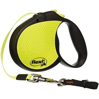 Flexi Neon Retractable Dog Leash (Tape) , 16 ft, Large, Black/Neon