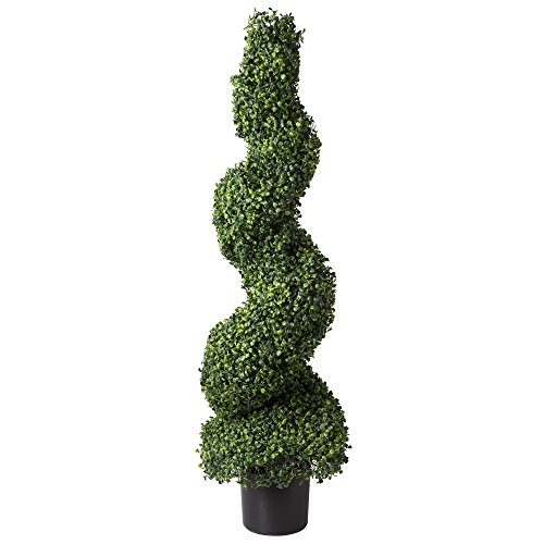 Artificial Boxwood Spiral Tree with Realistic Leaves, Beautiful Faux Plant for Indoor-Outdoor Home Décor-50-inch Topiary with Planter by Pure Garden