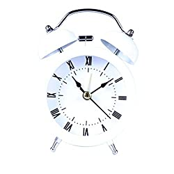 Yeefant Square Small Night Lights Bed Compact Quartz Clock Cute Portable Student Classic Simple Metal Shell Two-Way Bell Clock Decor for Living Room Bedroom,White