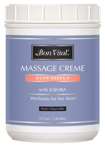 Bon Vital' Deep Tissue Massage Crème, Professional Massage Therapy Cream for Muscle Relaxation, Muscle Soreness, Injury Recovery, Deep Muscle Manipulation, & Sports Massages, 1/2 Gallon (Bon Vital Massage Lotion)