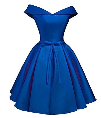 DreHouse Dresses Dress Bridesmaid Homecoming the Short Off Satin Royal Shoulder Blue B7rBSg