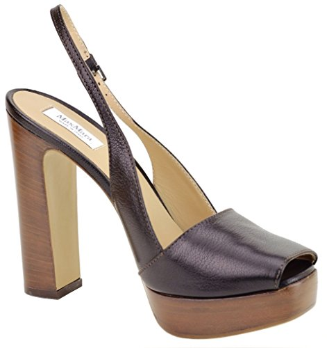 MaxMara Open Toe Slingback Platform Heels Italian Leather Size 8.5 & 9 Perfect for Night or Day Wear Black