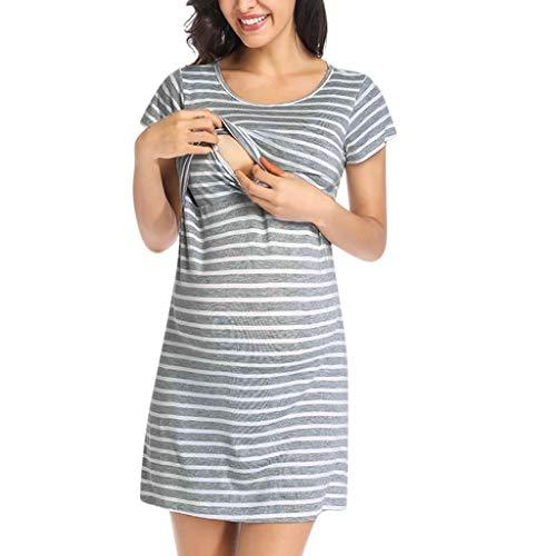 Zlolia Pregnant Women Striped Short-Sleeved A-Line Dress Round Neck High Waist Mini Skirt Maternity Dresses for Breastfeeding Gray